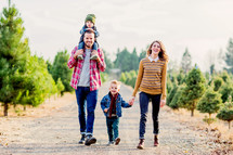 Young Family, Husband, Wife, boys, sons, walking, joy, unity, Christmas, Christmas Tree Farm, Marriage