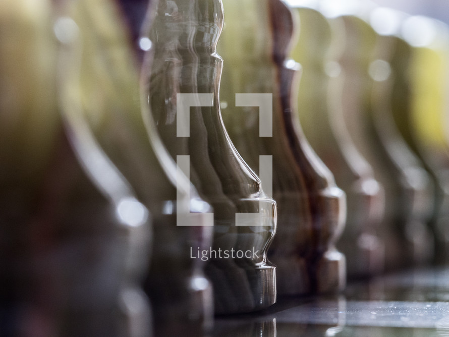 Marble chess pieces.