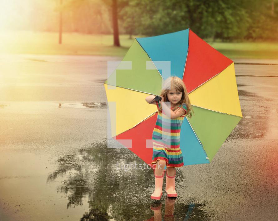 a little girl in rain boots carrying an umbrella