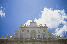 A white cathedral in the town square in Antigua, Guatemala