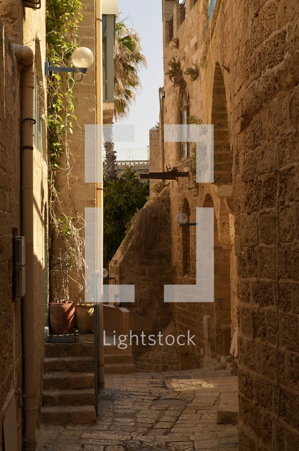 View of the partially reconstructed limestone buildings and street in the port of Jaffa (ancient Joppa)