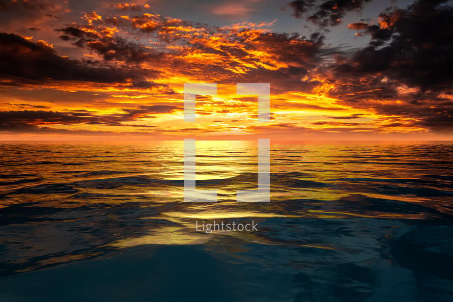 sunset sky over the ocean background