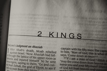 Open Bible in book of 2 Kings