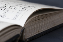 pages of an open hymnal