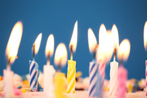 flames on birthday candles.