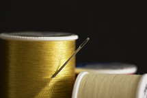 a needle in a spool of thread