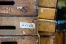 stacked wood bins