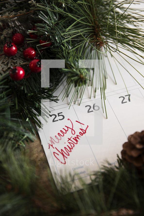 Merry Christmas, December 25th on a calendar