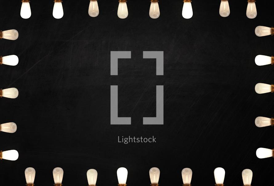 frame of lightbulbs