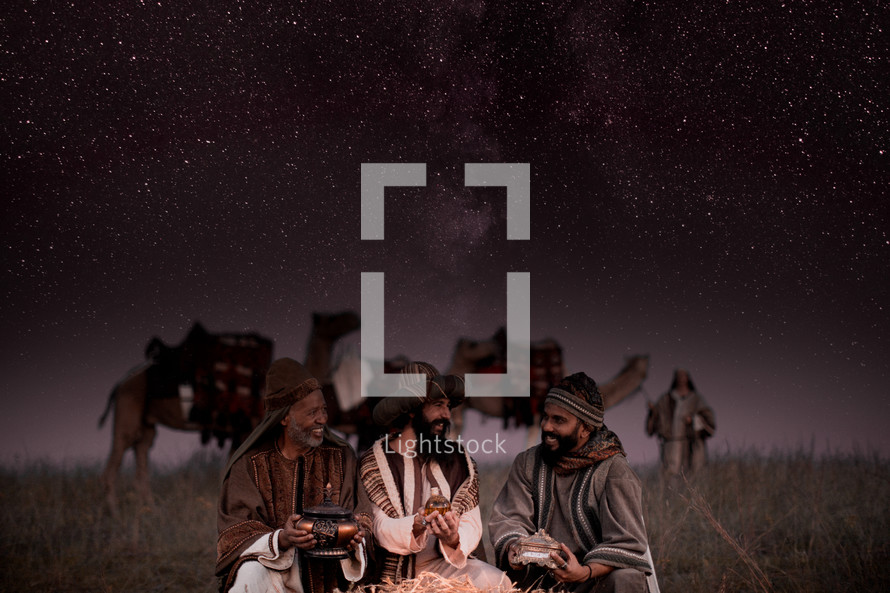 wisemen presenting gifts to baby Jesus