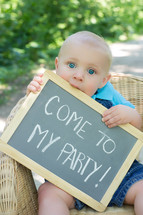 come to my party sign