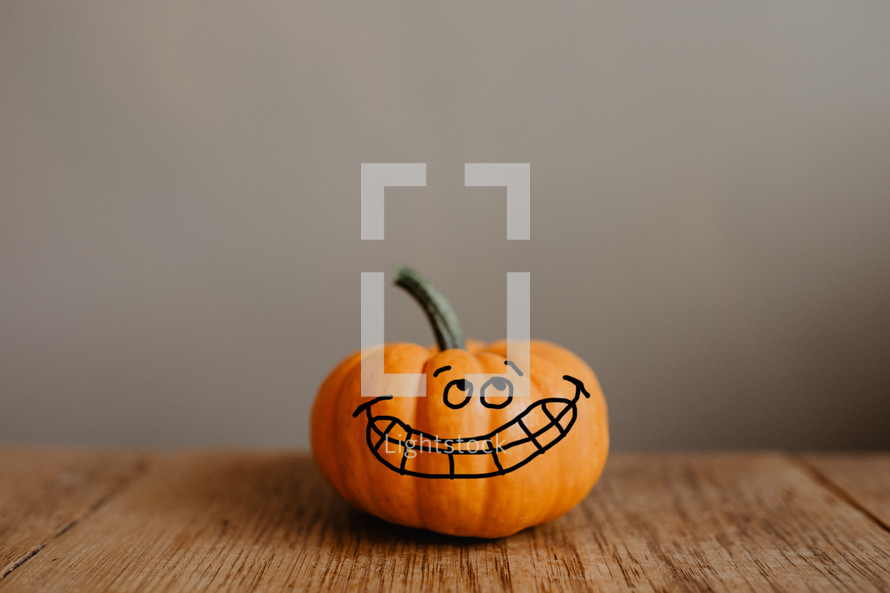 a silly smiling pumpkin
