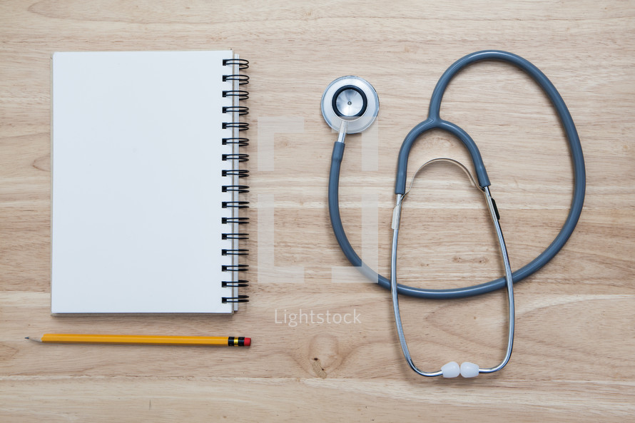 stethoscope and notebook
