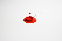 dripping red paint on white background