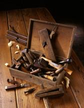 antique tools of a tool box