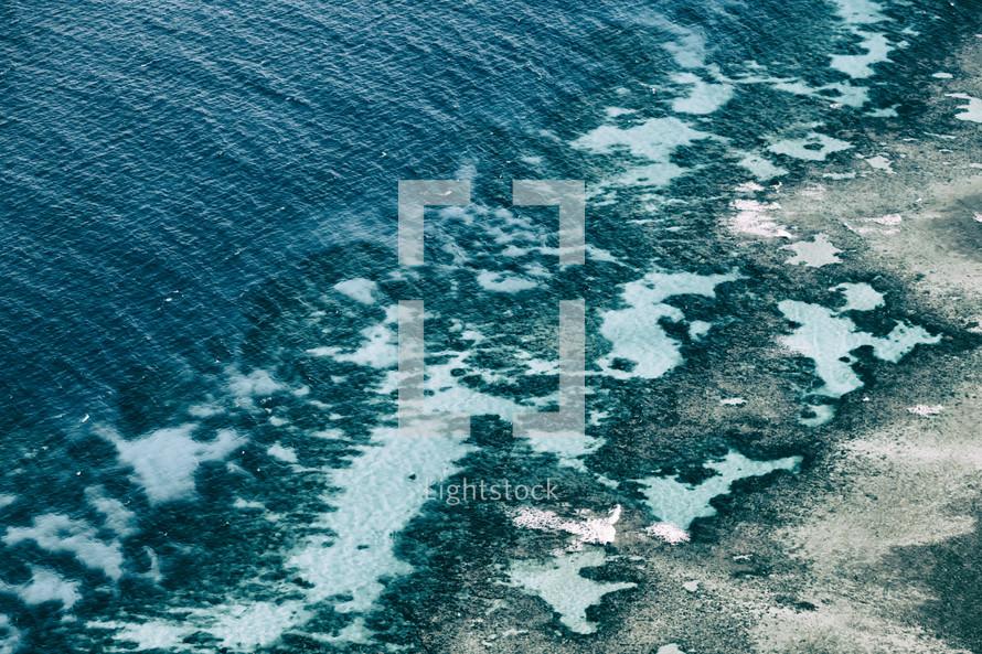 coral reef below