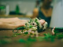 florist making a corsage