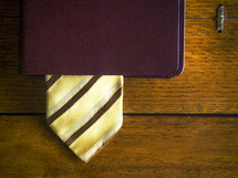 tie as a bookmark in a Bible