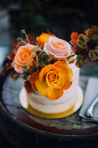 roses on a cake