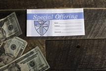 special offering envelope and cash