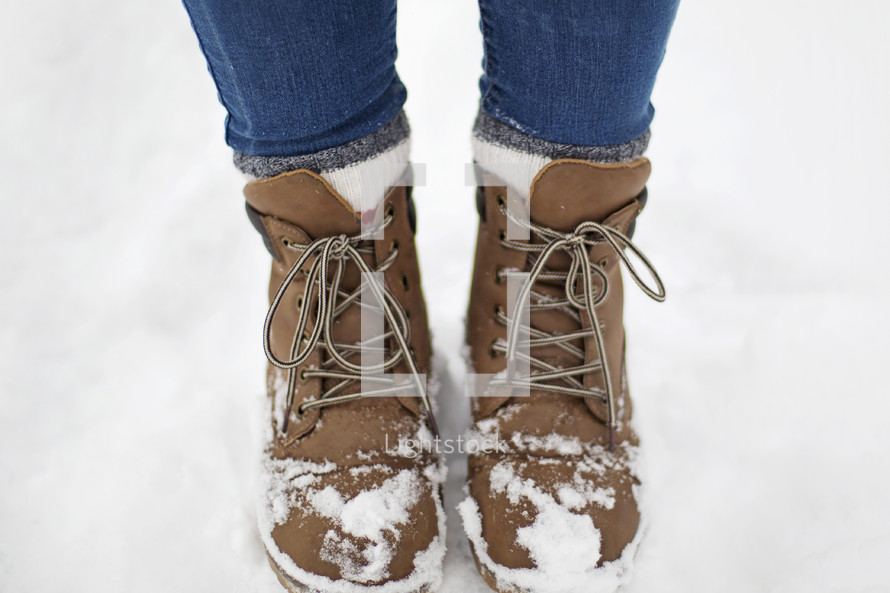 snow on boots