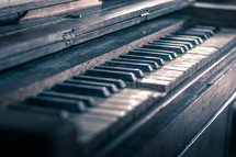 keys on an old piano