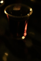 Close up of communion cup filled with wine