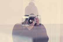 double exposure camera and photographer
