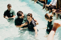 teen being baptized