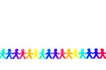 rainbow chain of paper dolls