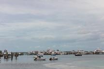 boats in a marina in the Bahamas