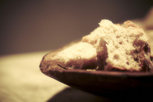 Chunks of bread within a bowl