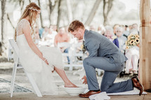 foot washing ceremony at a wedding
