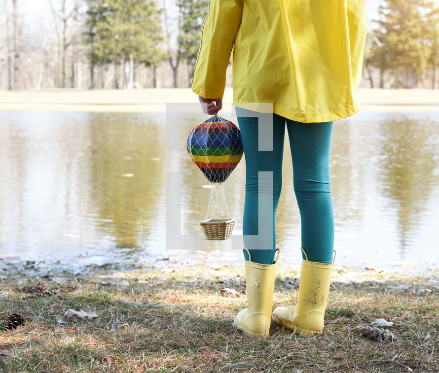 hot air balloon toy with a child