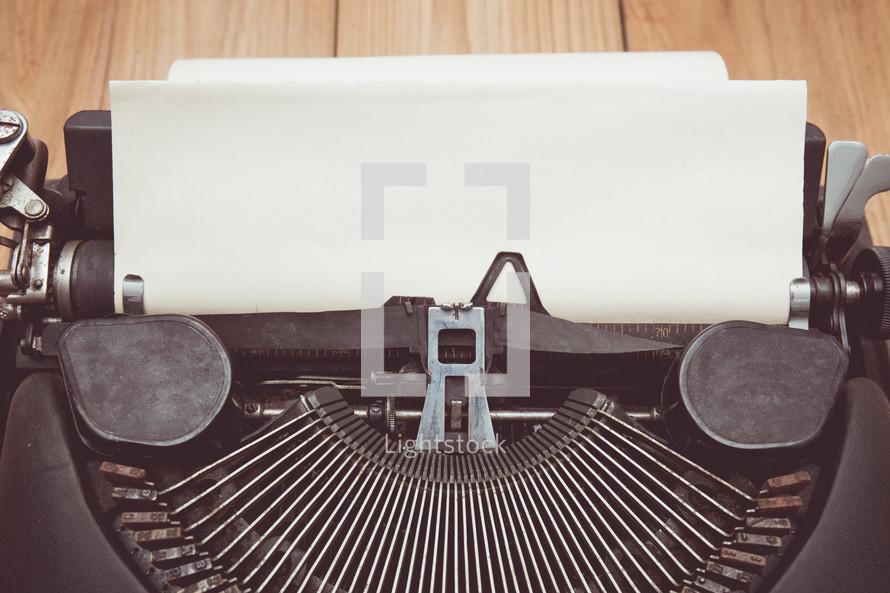 white paper in a vintage typewriter