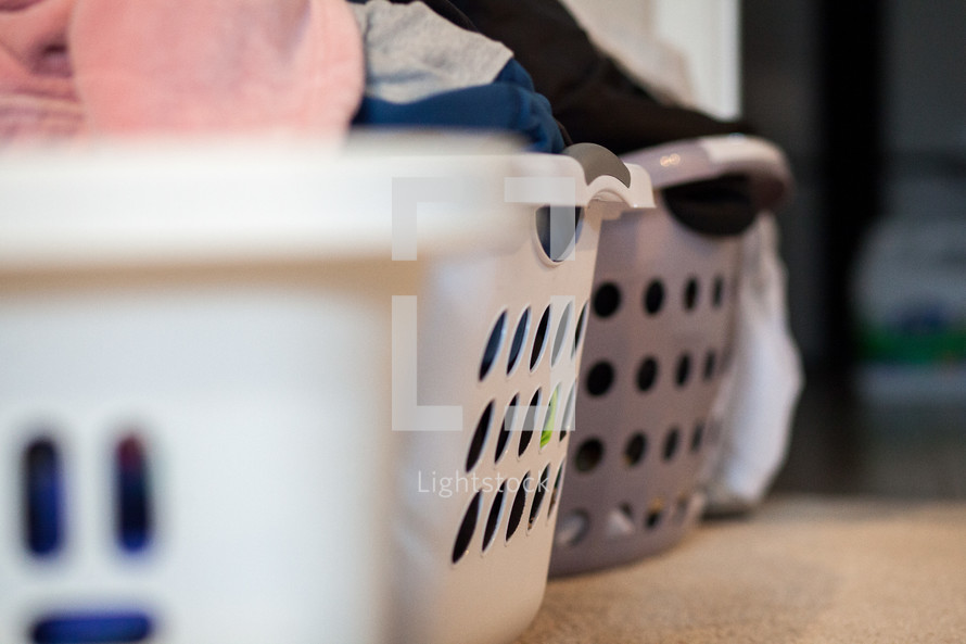 baskets of laundry