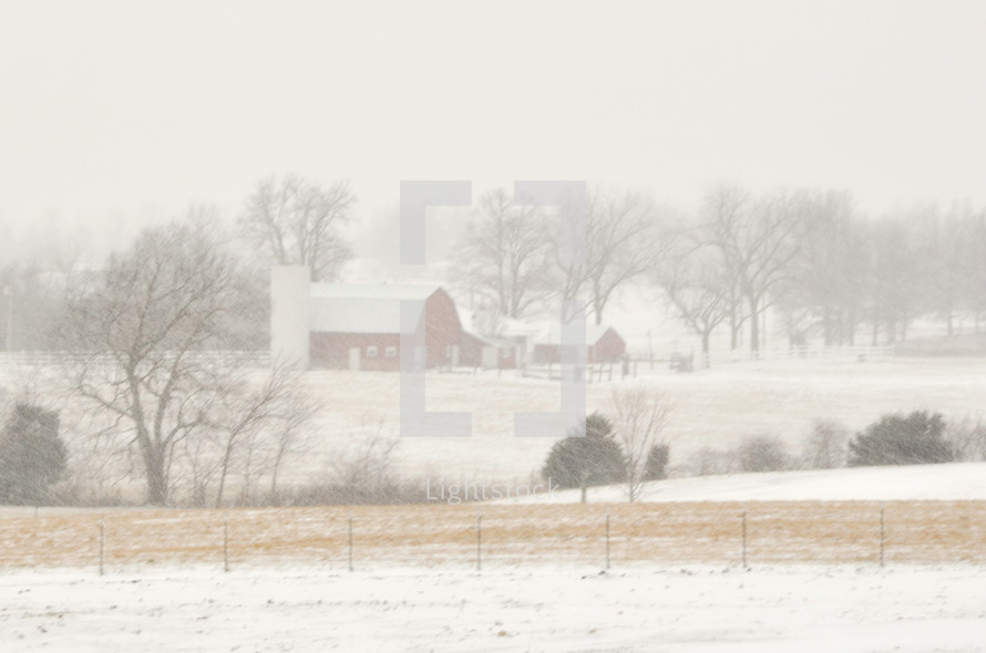 County barn covered in snow