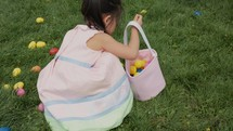 girl at an Easter egg hunt