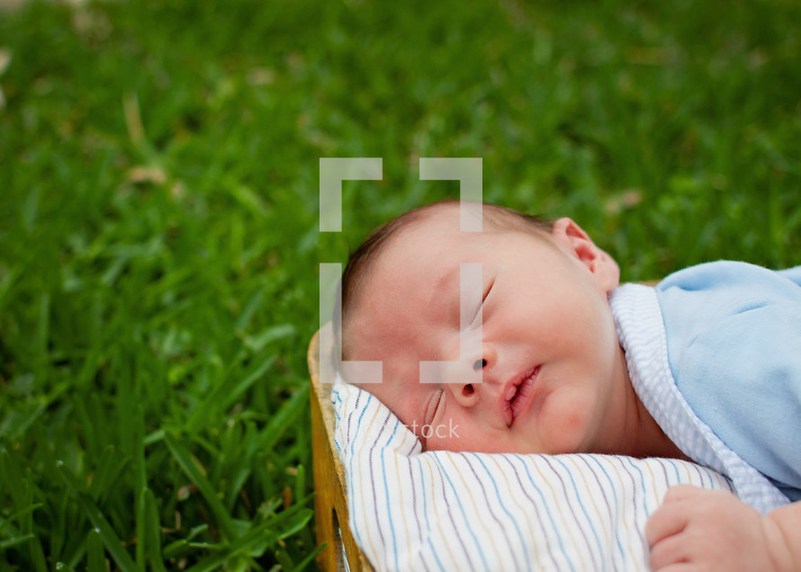 Infant sleeping in park