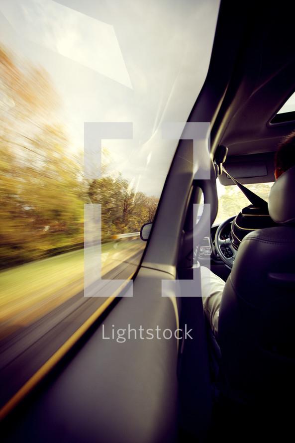 70 mph inside  a car