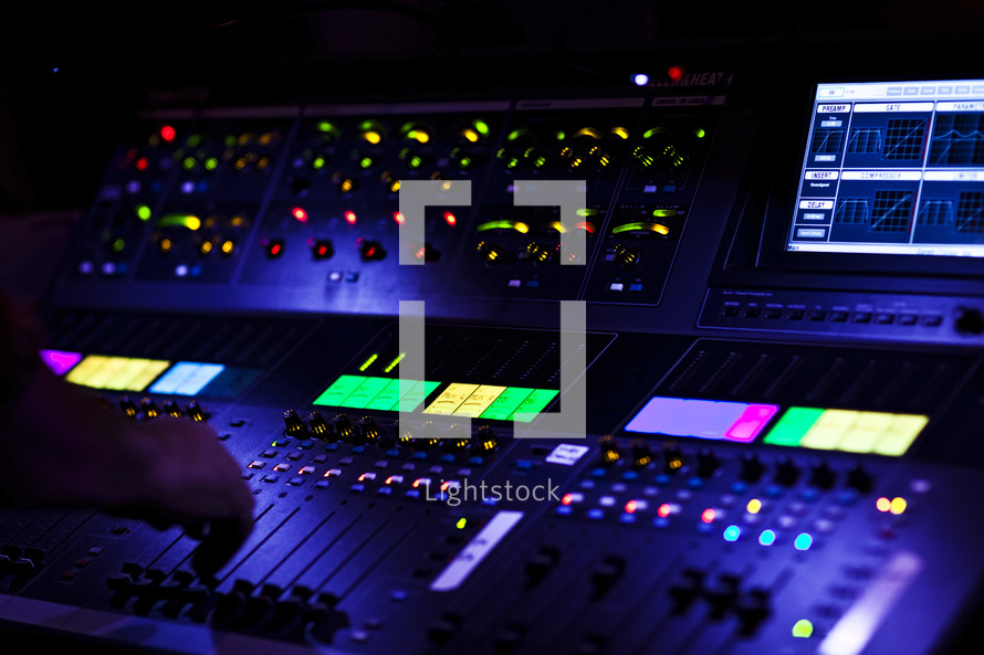 Digital soundboard controls sliders channel mixer audio performance