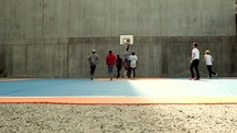 team basketball game outdoors