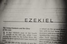 Open Bible in book of Ezekiel
