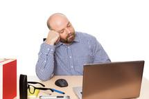 man sleeping on the job