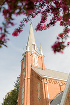 fuchsia spring flowers on a tree branch and brick church with steeple