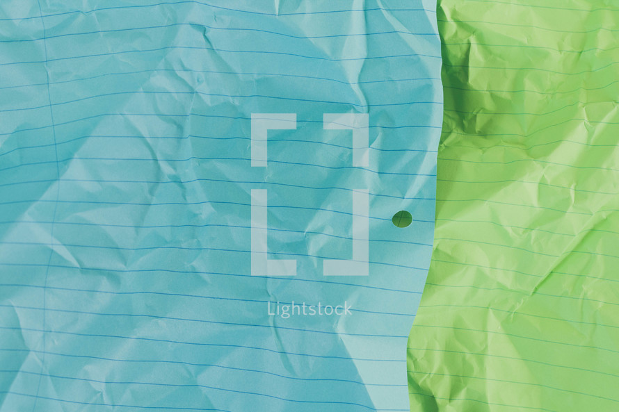 crumpled notebook paper background