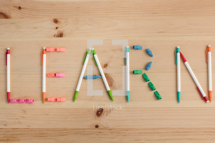 word Learn in pencils and erasers