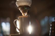 coffee mug in morning sunlight