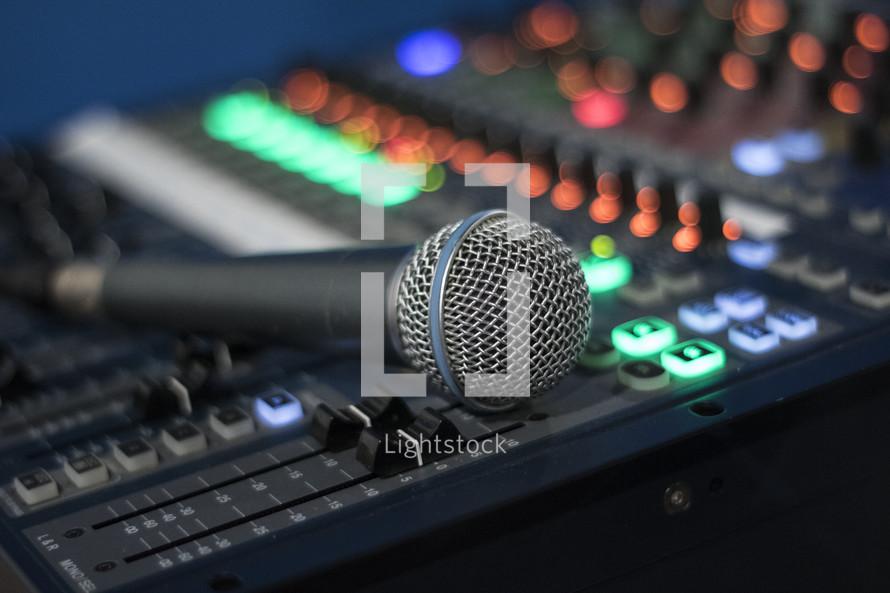 microphone on a soundboard