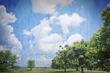 trees, clouds, and blue sky landscape